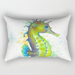 Seahorse Lime Green watercolor Splash Rectangular Pillow