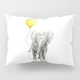 Elephant Watercolor Yellow Balloon Whimsical Baby Animals Pillow Sham
