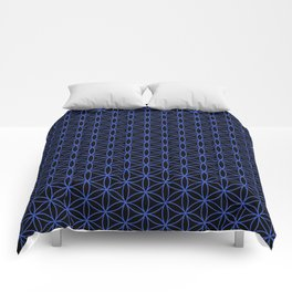 Flower of Life Pattern – Blue on Black Comforters
