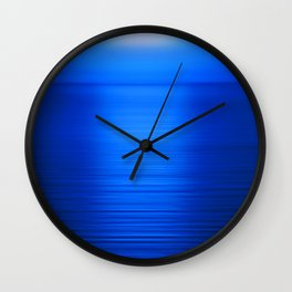 Sunset on the Water-Deep Blue Wall Clock