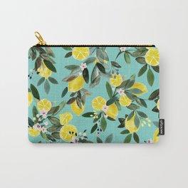 Summer Lemon Floral Carry-All Pouch