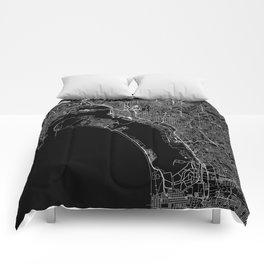 San Diego Black Map Comforters