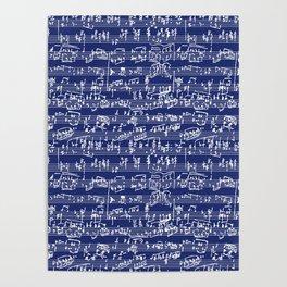 Hand Written Sheet Music // Midnight Blue Poster