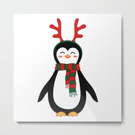 Penguin with scarf and reindeer antler head band. Metal Print