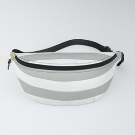 Inspired by Benjamin Moore Metropolitan Gray AF-690 Hand Drawn Fat Horizontal Lines on White Fanny Pack