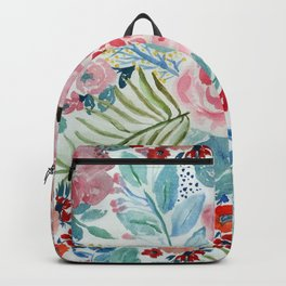 Pretty watercolor hand paint floral artwork. Backpack