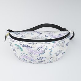 Botanical navy blue lilac watercolor summer floral Fanny Pack