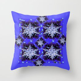 BLUE WINTER HOLIDAY SNOWFLAKES PATTERN ART Throw Pillow