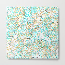 grid in yellow and blue and petals Metal Print