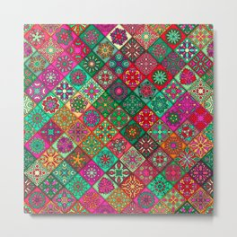 N134 - Heritage Oriental Traditional Bohemian Style Moroccan Artwork Metal Print