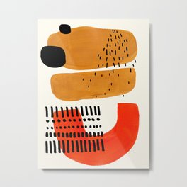 Mid Century Modern Abstract Minimalist Retro Vintage Style Fun Playful Ochre Yellow Ochre Orange  Metal Print