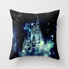 Fantasy castle Teal Turquoise Blue Throw Pillow