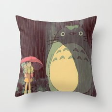 My Neighbor Totoro (Waiting for the bus in the rain IN THE RAIN) Throw Pillow