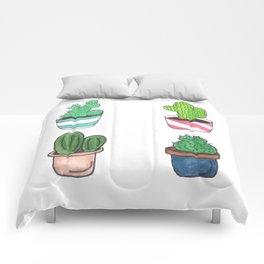 1 Cactus, 2 Cacti, 3 Cacti Four- Watercolor Design Comforters