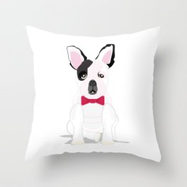 French in a Bowtie Throw Pillow