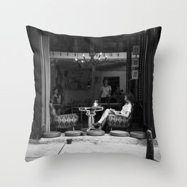Morning coffee in a cafe - Black and white street photography Throw Pillow
