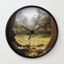 Man Woman Below Knee Feet Shoes High Heel Sunshine Meadow Ultra HD Wall Clock