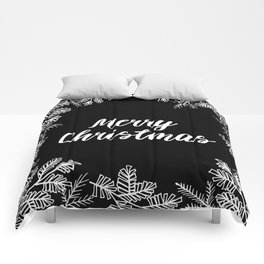 Merry Christmas Black and White Comforters