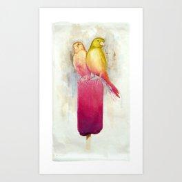 Raspberry Canary Popsicle Art Print