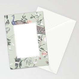 Oriental Peacock Toucan Floral Pattern Stationery Cards
