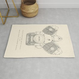 Original technical drawing, italian motorcycle engine, retro garage sign, vintage mechanic Rug
