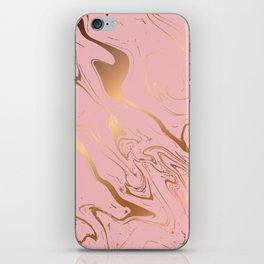 Pink Gold Liquid Marble iPhone Skin