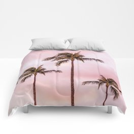 Palm Tree Photography Landscape Sunset Unicorn Clouds Blush Millennial Pink Comforters
