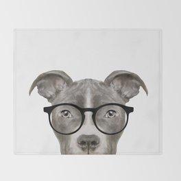 Pit bull with glasses Dog illustration original painting print Throw Blanket