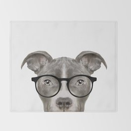 Pit bull with glasses Dog illustration original painting print Throw Blanket