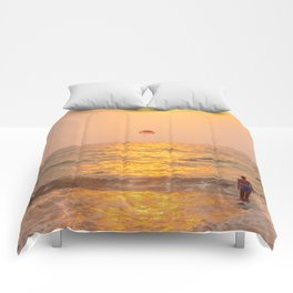 Golden hour at the sea Comforters