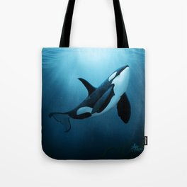 """""""The Dreamer"""" by Amber Marine ~ Orca / Killer Whale Art, (Copyright 2015) Tote Bag"""