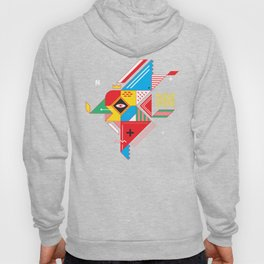 Vintage Abstract Art Colorful Geometric Shape Pattern with an Eye Hoody
