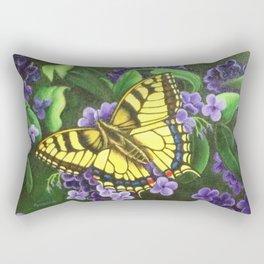 TigerEye Swallowtail Butterfly on Purple Flowers Rectangular Pillow