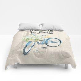 Vintage Blue Bicycle with Flowers in Paris Comforters