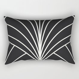 Diamond Series Floral Burst White on Charcoal Rectangular Pillow