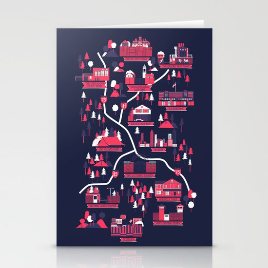 The Survivors Map (dark edition) Stationery Cards