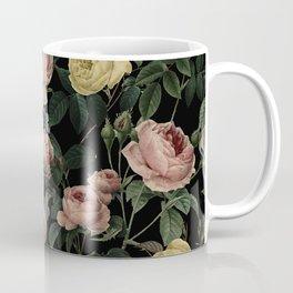 Vintage Roses and Iris Pattern - Dark Dreams Coffee Mug
