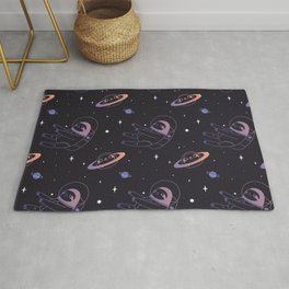 Astro sloth and planet sloth pattern Rug