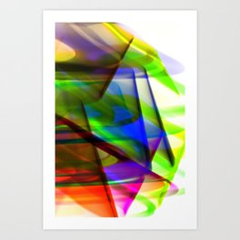 Speeding Neon 80s Abstract Art Print