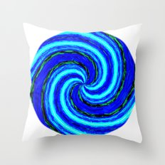 Blue Ball Swirl Throw Pillow