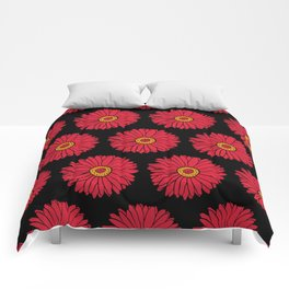 Red Gerbera Daisy Floral Print Pattern Comforters