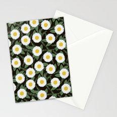 Daisies botanical floral print minimal flowers basic florals pattern charlotte winter dark Stationery Cards