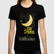 A Cat in Paris Womens Fitted Tee Black LARGE
