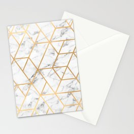 Marble & Gold Geo Lines Stationery Cards