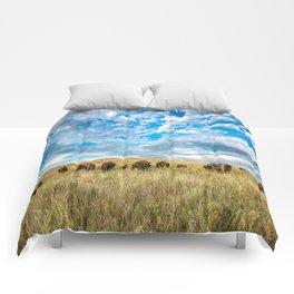 Grazing - Bison Graze Under Big Sky on Oklahoma Prairie Comforters
