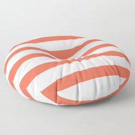 Orange Coral Stripes on White Background Floor Pillow