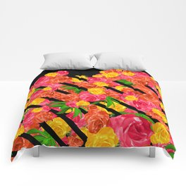 Bold Tropical Spring Floral With Stripes Comforters