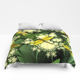Yellow Dragonflies Comforters