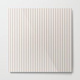 Mattress Ticking Narrow Striped Pattern in Dark Brown and White Metal Print