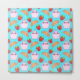 Cute happy funny pink baby bunnies, sweet adorable yummy Kawaii croissants and red ripe summer strawberries cartoon light pastel blue pattern design Metal Print
